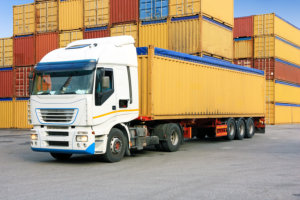 Truck with containers background